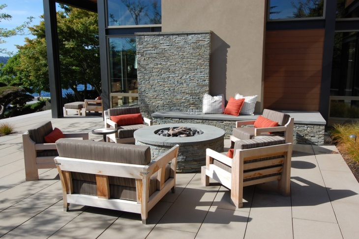 outdoor stacked stone fire pit