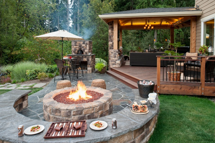 Round Outdoor Stone Fire Pit