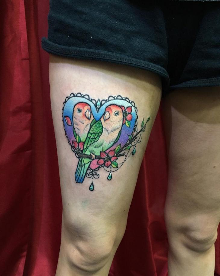 love bird tattoo on leg