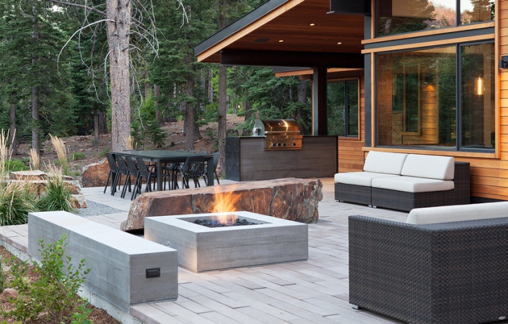 contemporary concrete outdoor fire pit