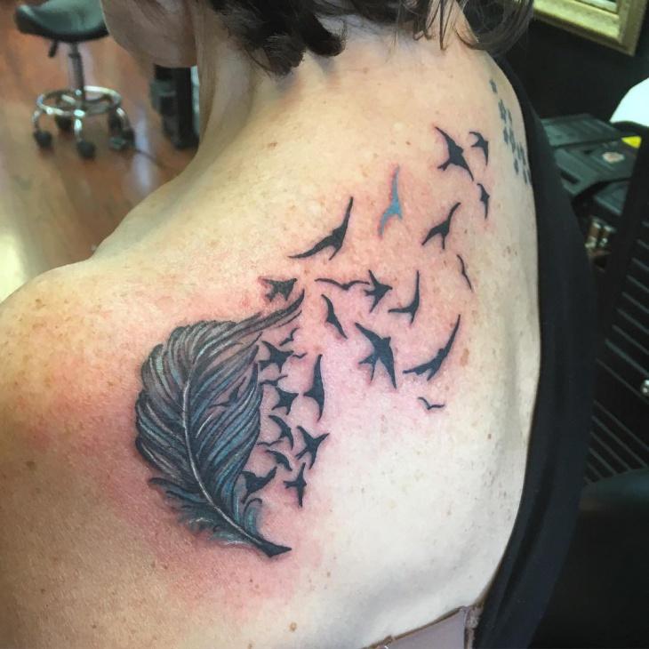 bird feather tattoo ideas on shoulder