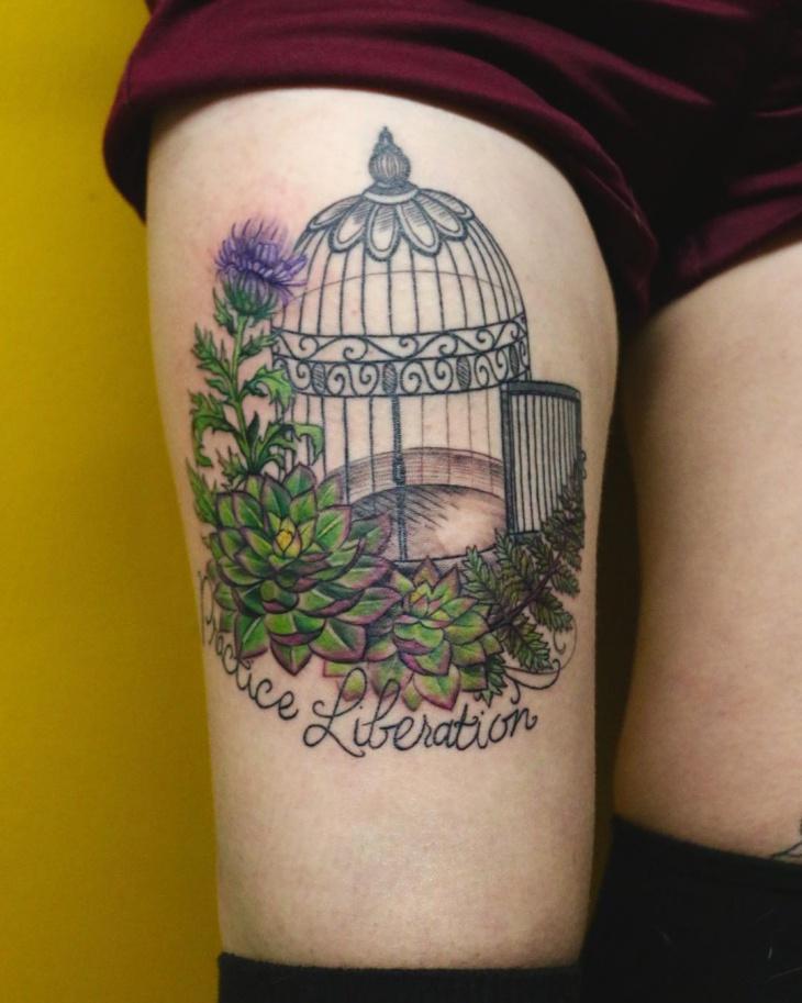 open bird cage tattoo design