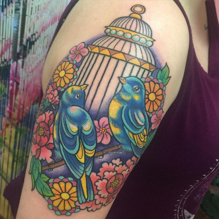 bird cage sleeve tattoo
