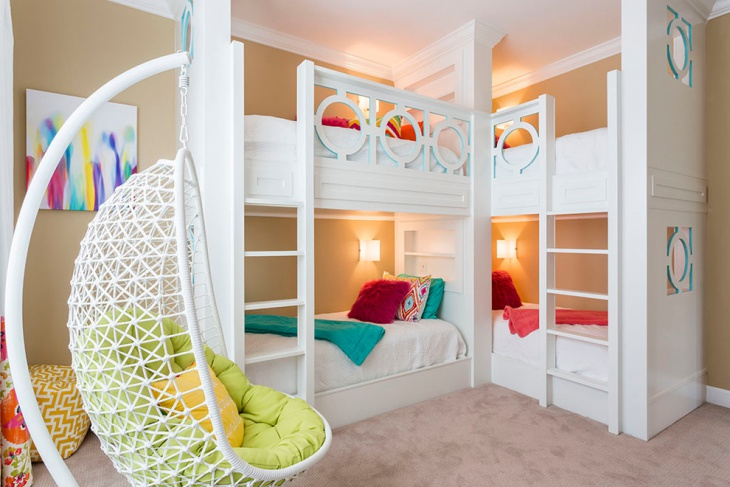 built in corner bunk bed