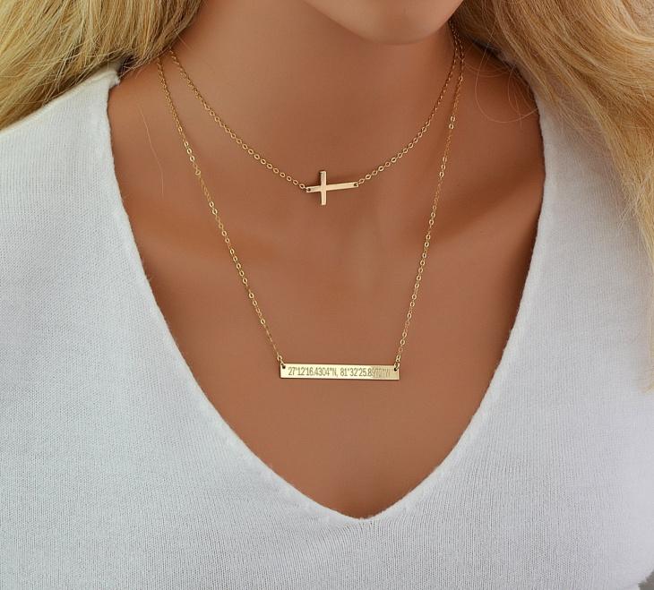 gold choker cross necklace