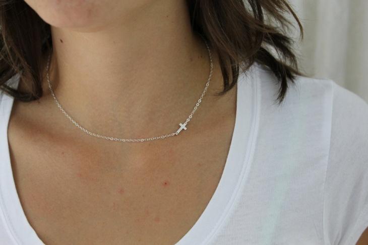 small sideways cross necklace
