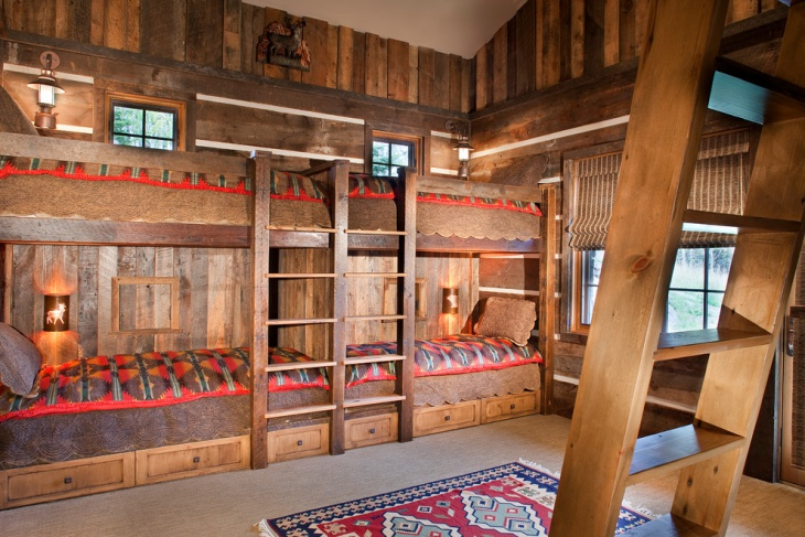 rustic wood bunk bed