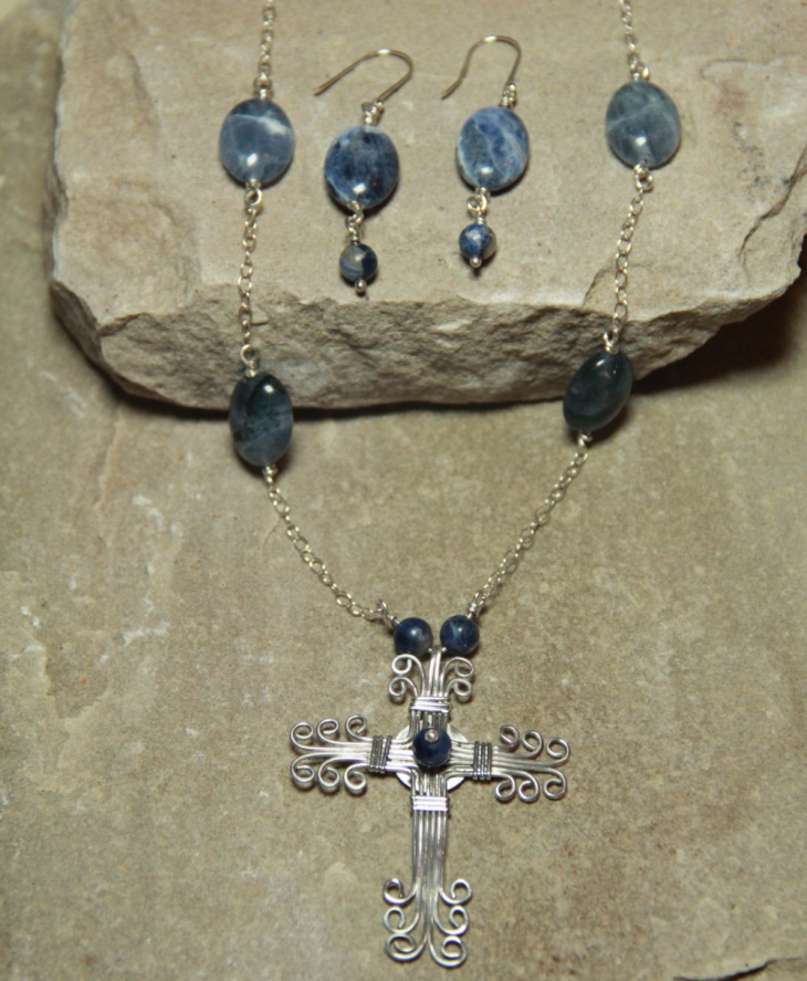 hand made wire wrapped cross necklace