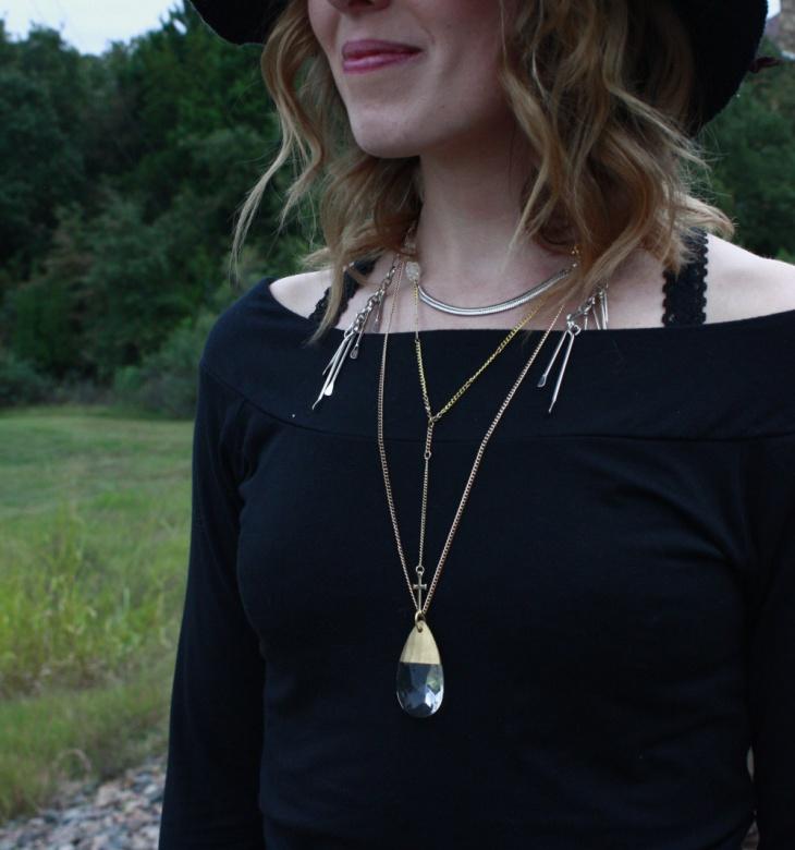 multi layered cross necklace