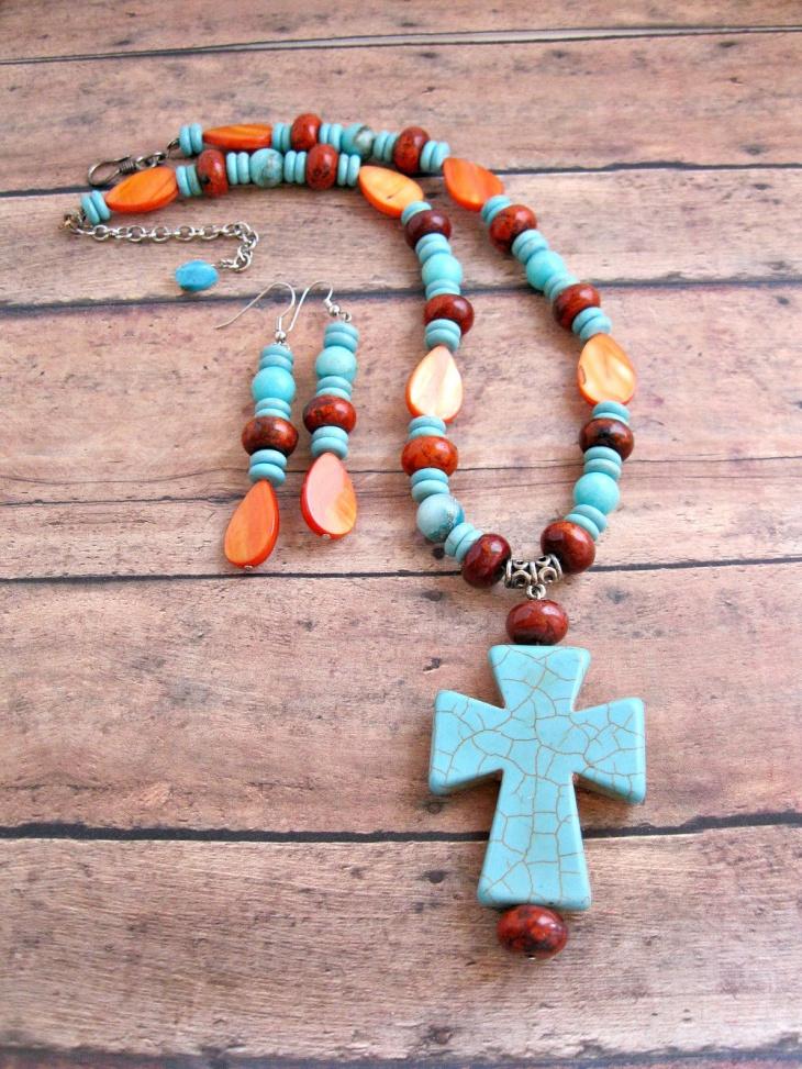 blue stone cross necklace design
