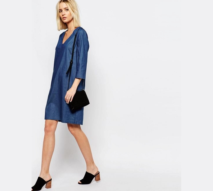 denim sleeve tunic dress