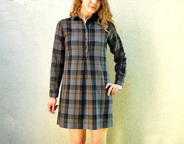 plaid tunic shirt dress