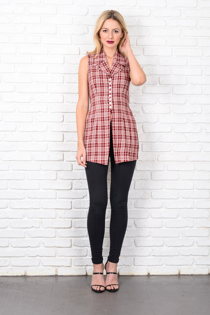 plaid sleeveless tunic dress