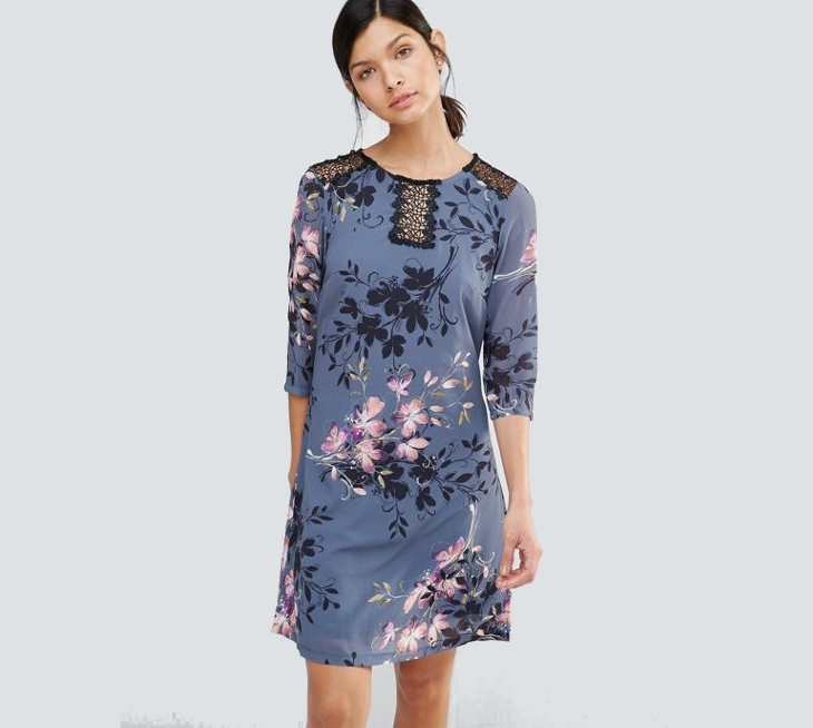 floral lace tunic dress