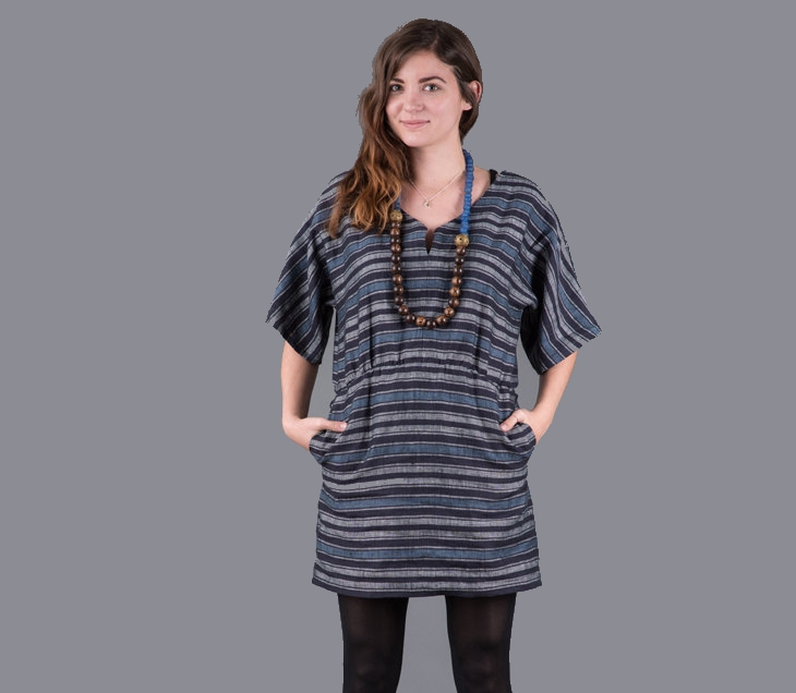 black and gray striped tunic dress