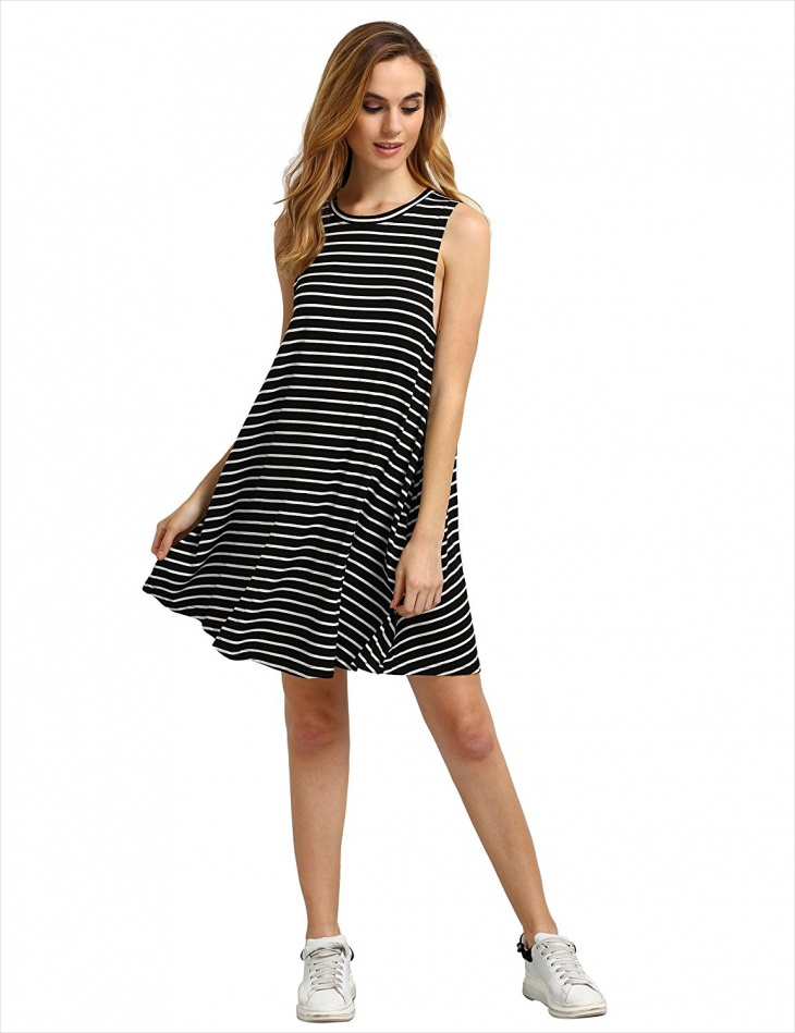 striped neck tunic dress