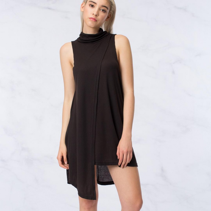 black tunic chiffon dress