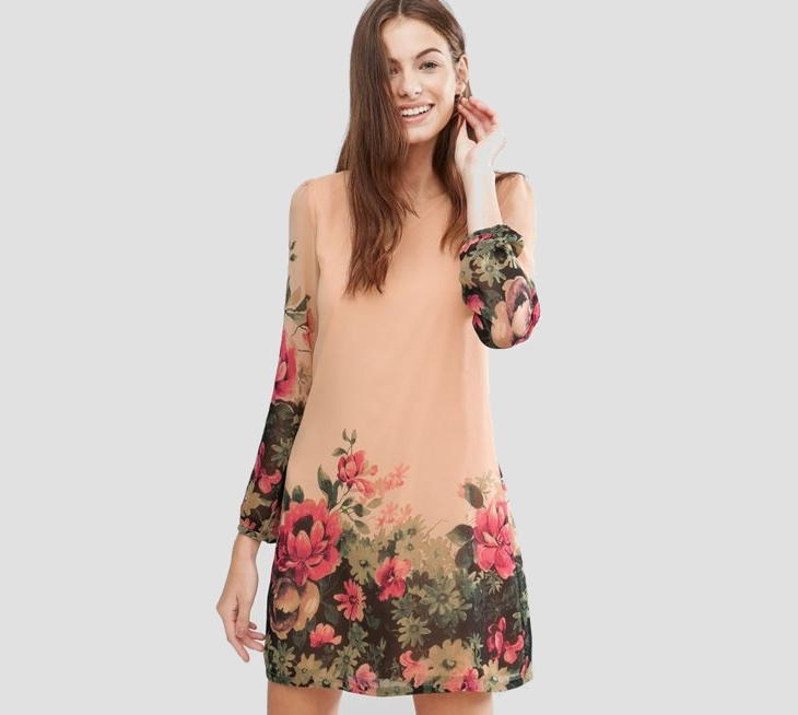 floral long sleeve tunic dress