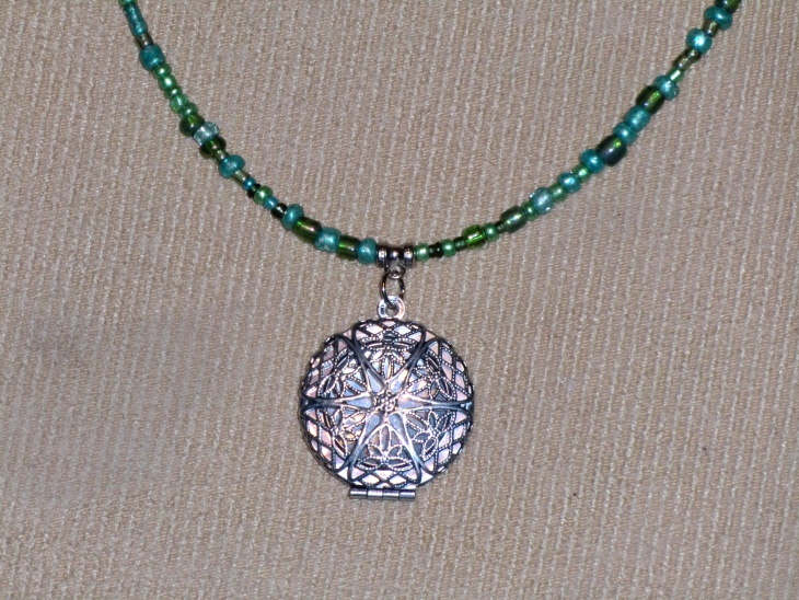 silver locket beads necklace
