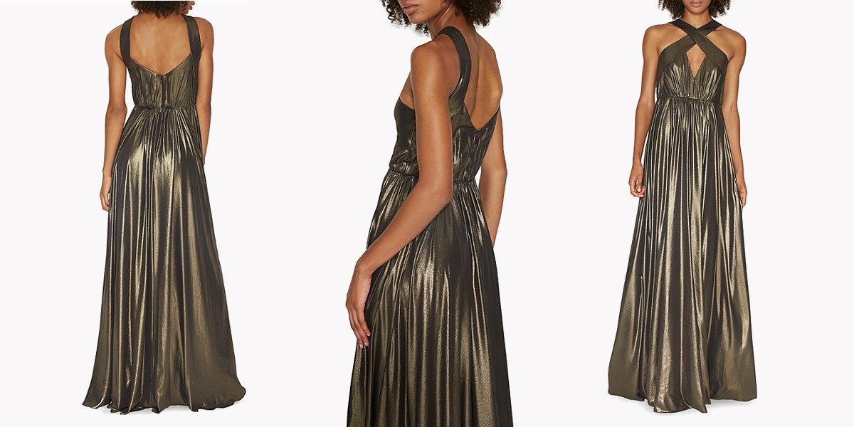 halston heritage metallic keyhole gown