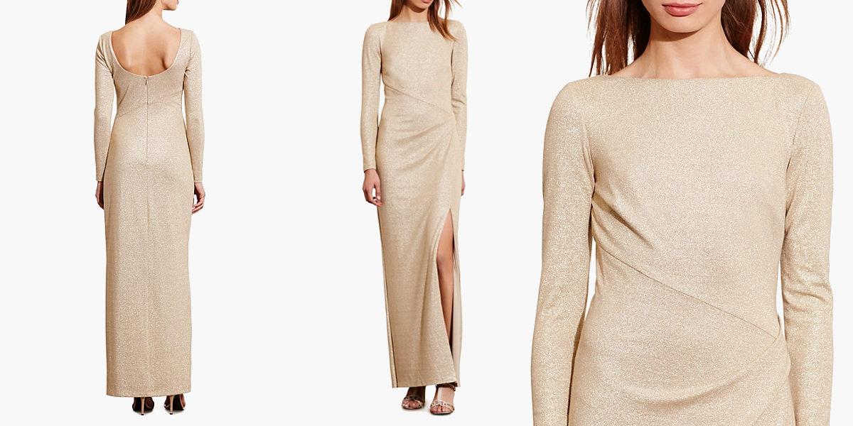 ralph lauren metallic scoop back gown
