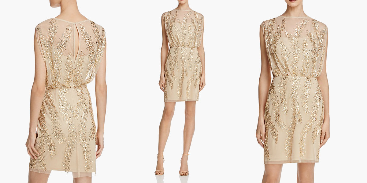 aidan mattox bead embellished blouson dress