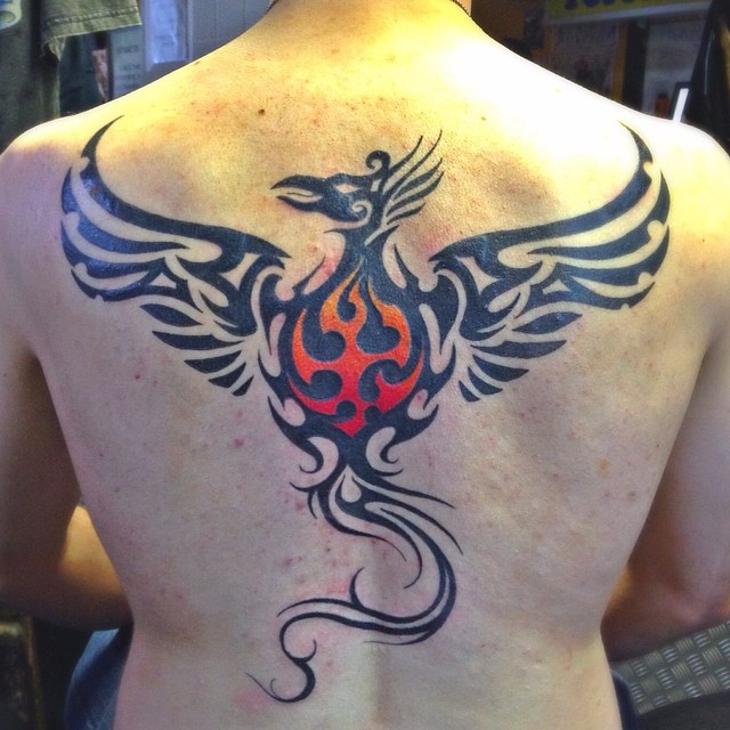 men tribal back tattoo design