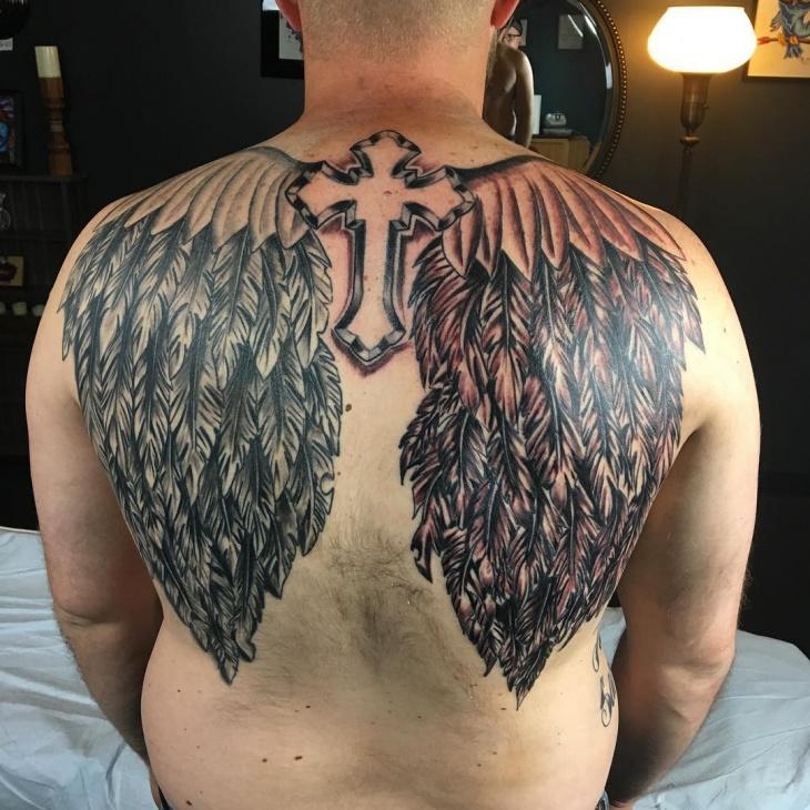 back cross wing tattoo