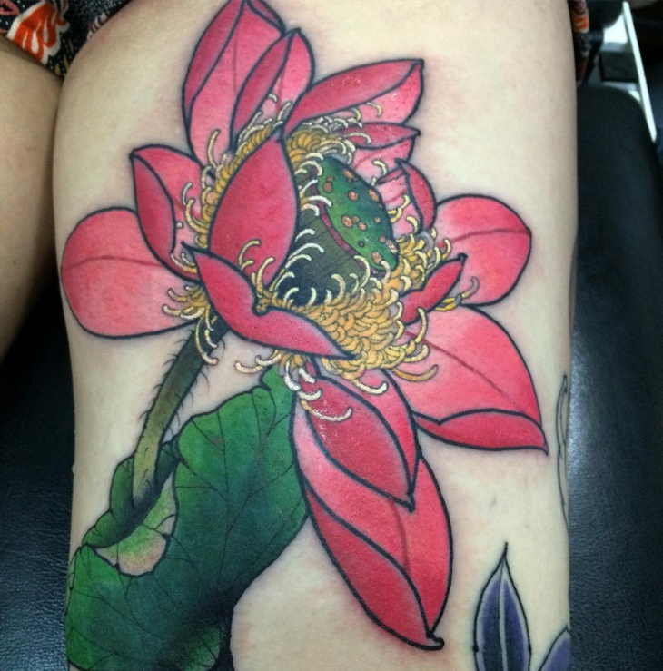 3d lotus flower tattoo on thigh