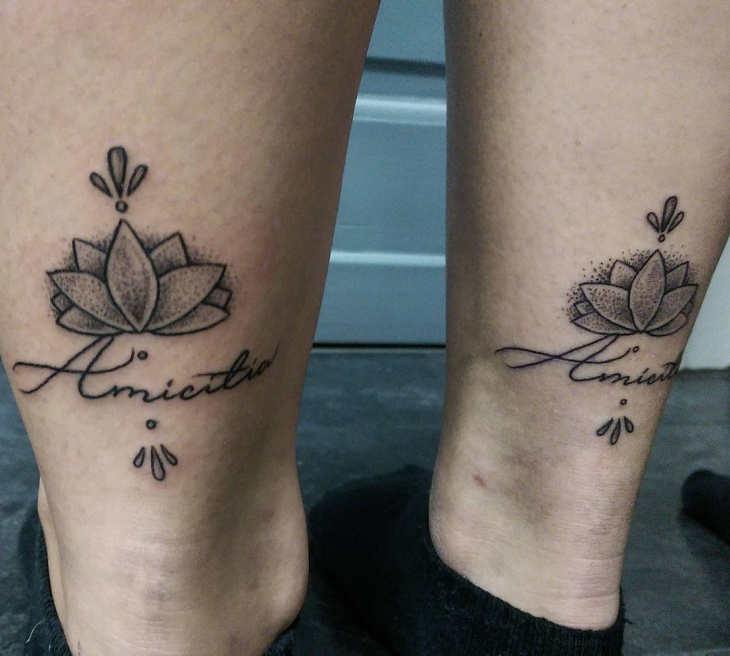 matching lotus flower leg tattoo