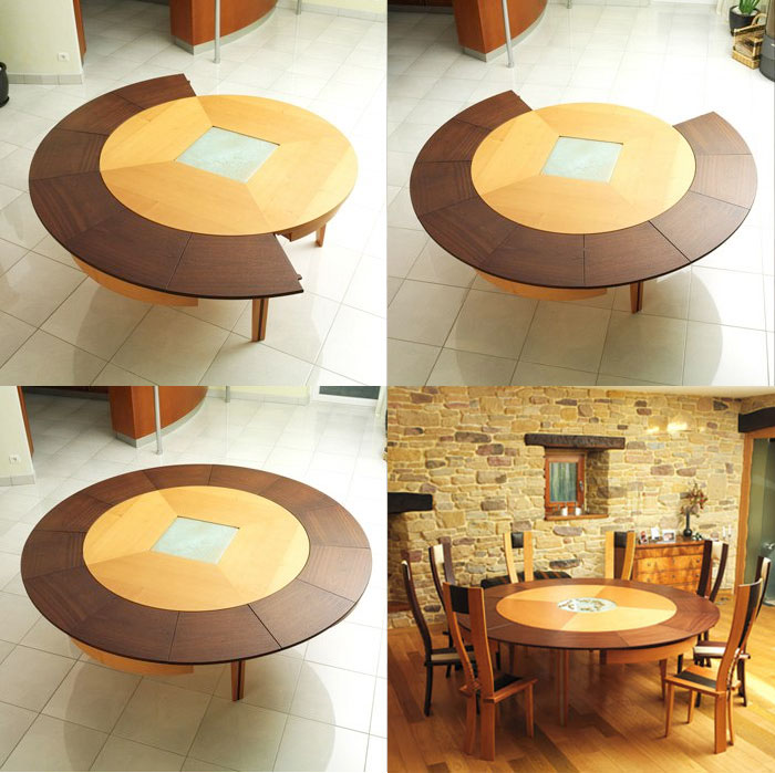 large expandable round dining table