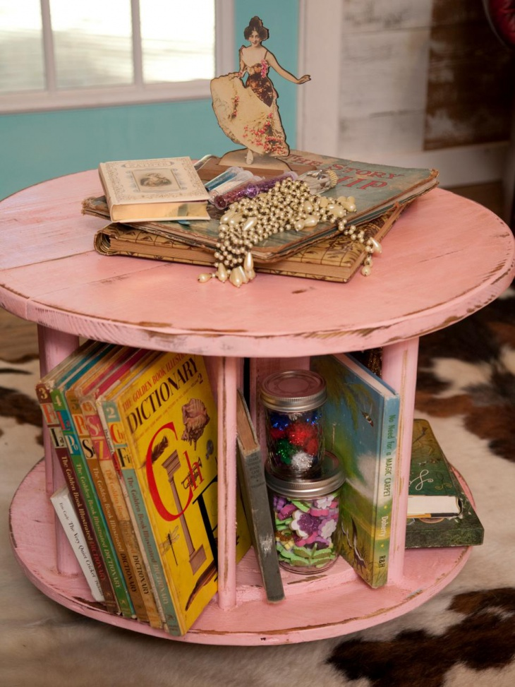 book rack and coffee table