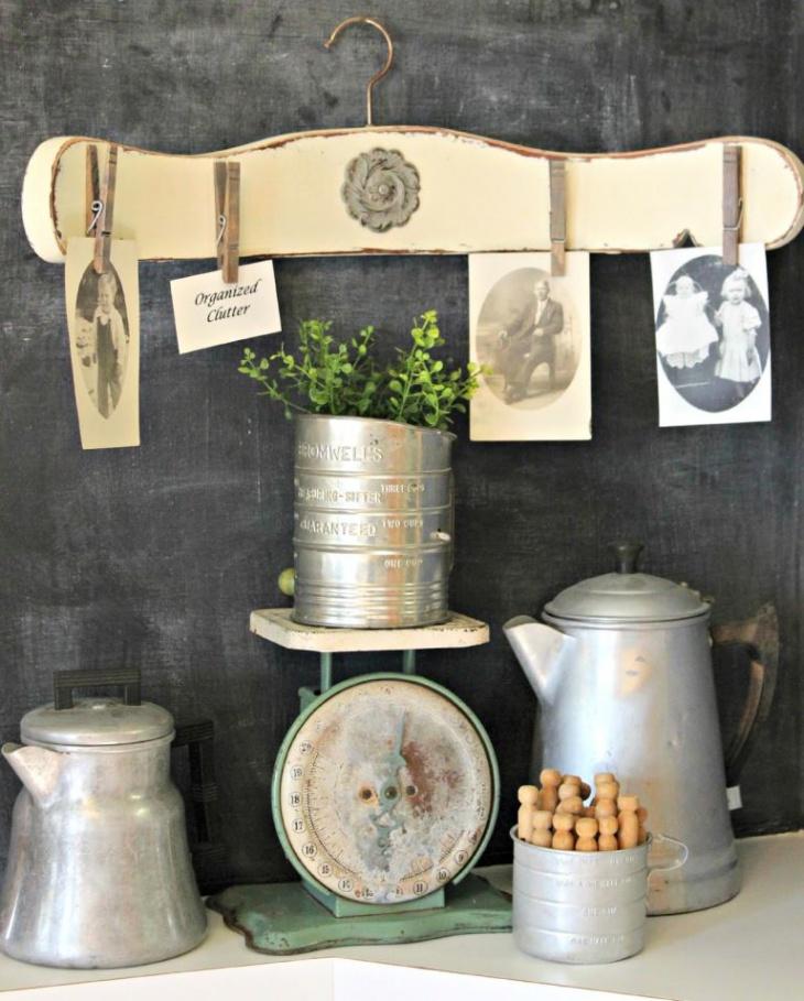 rustic wooden picture hanger