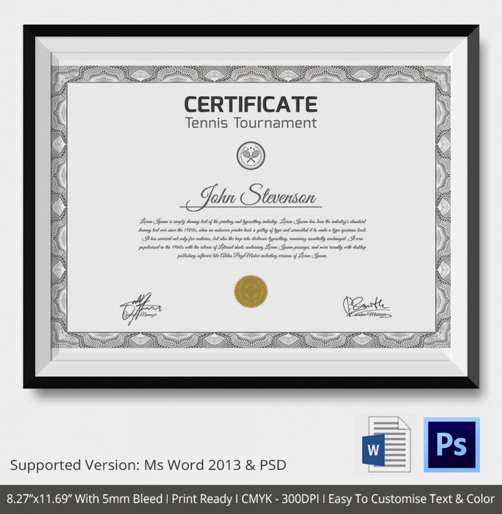 5 Tennis Certificates Psd Word Designs Design Trends Premium