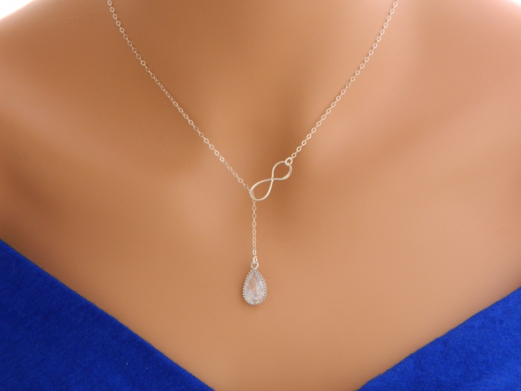 silver crystal infinity necklace