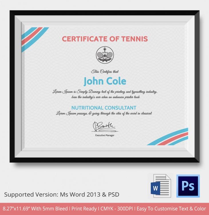 5 tennis certificates psd word designs design trends premium sample tennis certificate template yelopaper Gallery