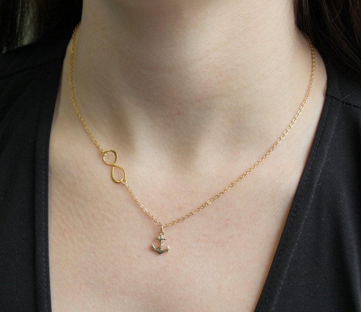 gold infinity anchor necklace