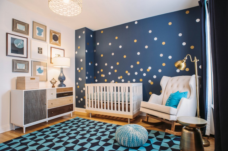 dotted baby room wall design