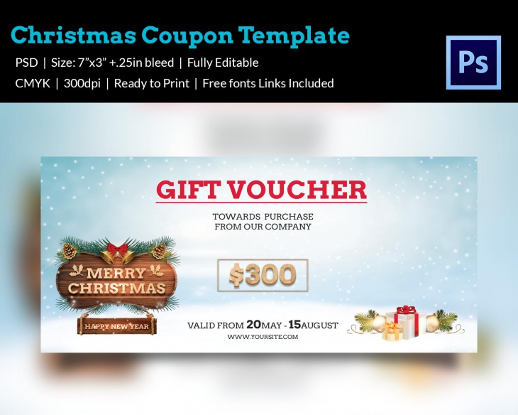 christmas gift certificate template psd