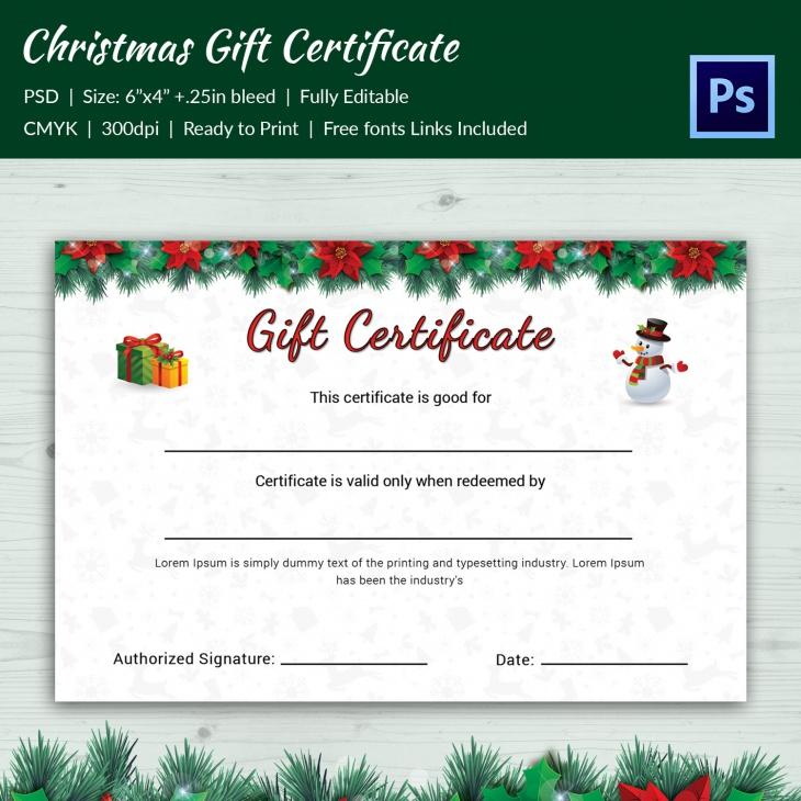 premium christmas cantata gift certificate