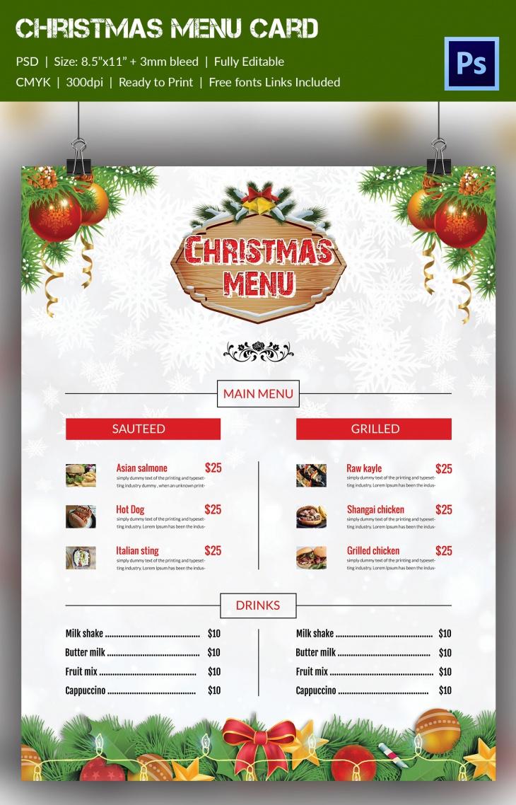 christmas broucher 2016 menu card