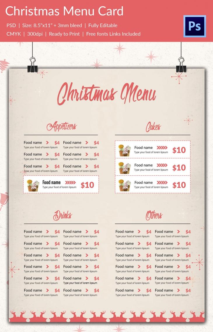 christmas bundle package 2 menu card
