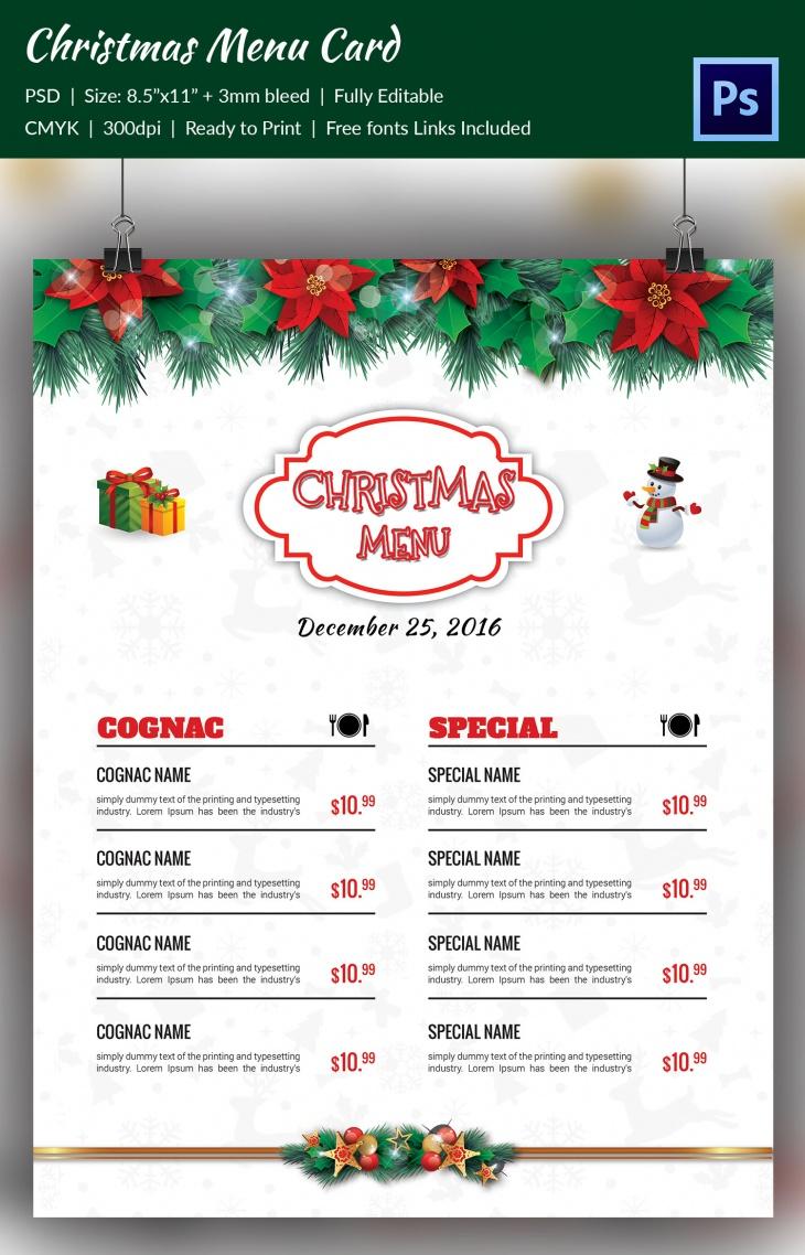 premium christmas cantata brochure menu card