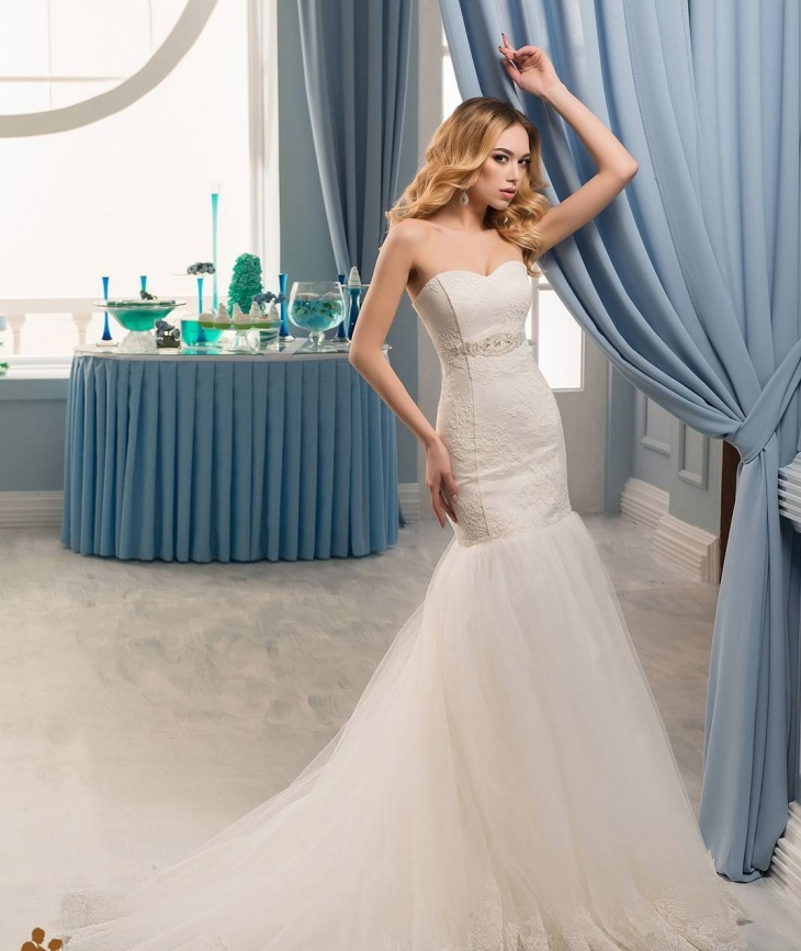 mermaid wedding stripless dress