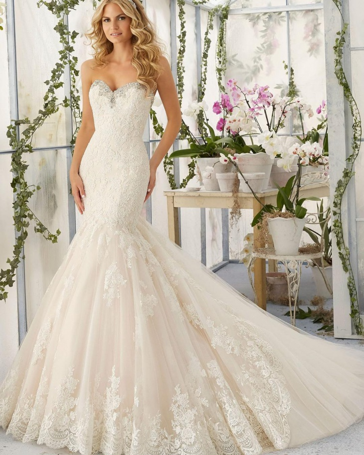 mermaid wedding lace dress