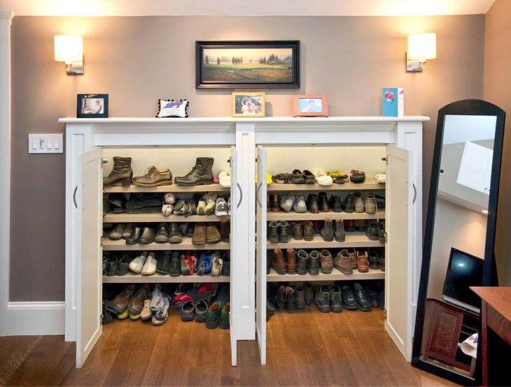 white shoe storage cabinet