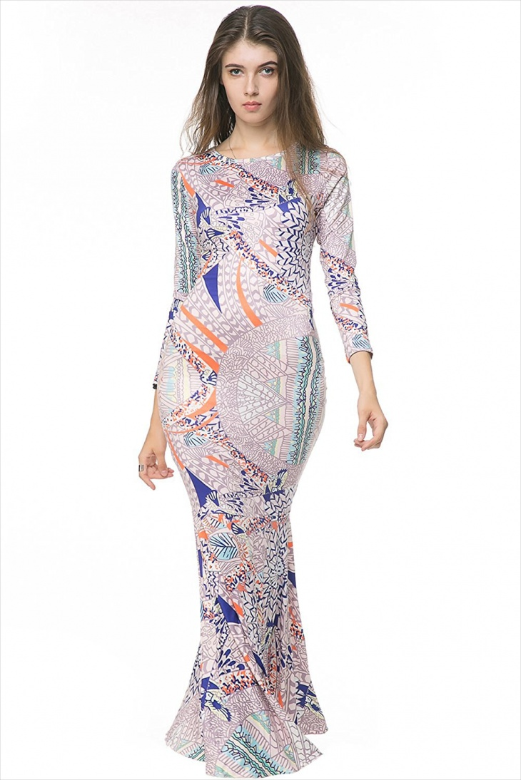 long sleeve mermaid maxi dress