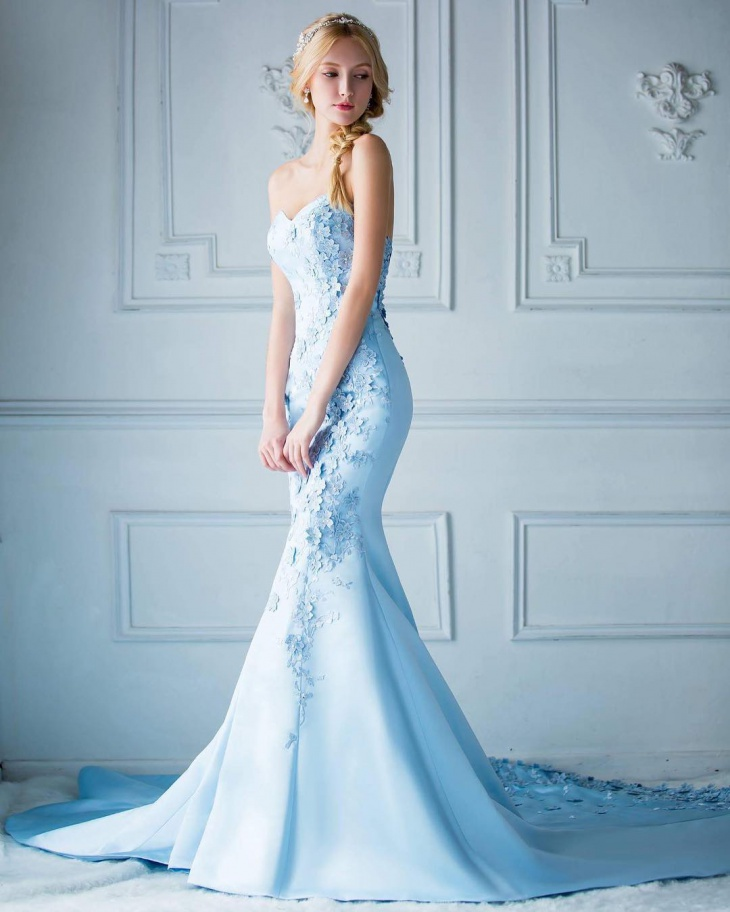 blue strapless mermaid dress