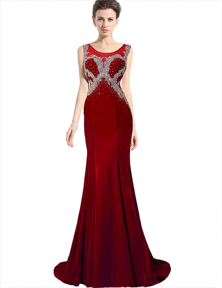 red velvet mermaid dress