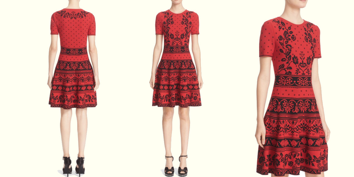 alexander mcqueen jacquard fit and flare dress